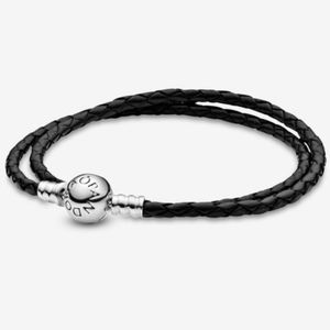 Pandora black leather bracelet
